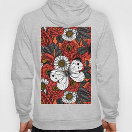White butterfly and roses Hoody