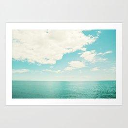 Turquoise Ocean Landscape Art, Aqua Blue Seascape Photo, Teal Sea Horizon Photography Art Print
