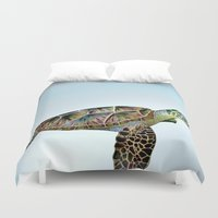 sea turtle Duvet Covers featuring Sea Turtle by Luci Dreams