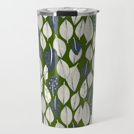 leaves and feathers green Travel Mug