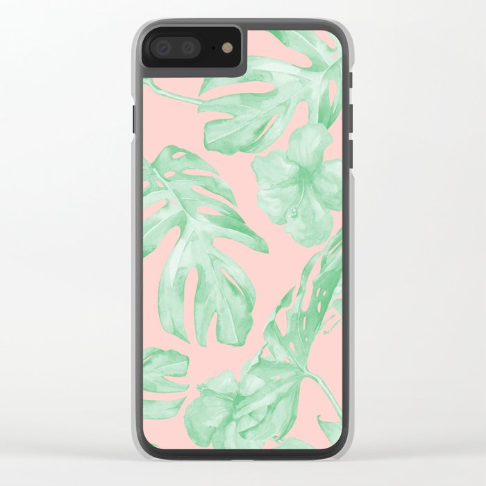 Island Life Seashell Pink + Light Green Clear iPhone Case