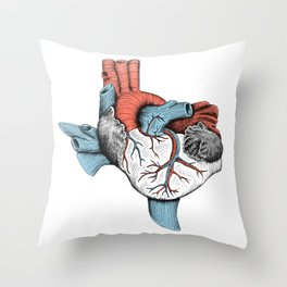 The Heart of Texas (Red, White and Blue) Throw Pillow