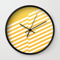 bands Wall Clocks featuring Yellow Bands R. by blacknote