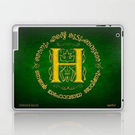 Joshua 24:15 - (Gold on Green) Monogram H Laptop & iPad Skin