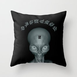 Super realistic alien with a another world si-fi language lettering Throw Pillow