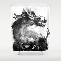 dragon Shower Curtains featuring Dragon by Jonathan Keuchkarian