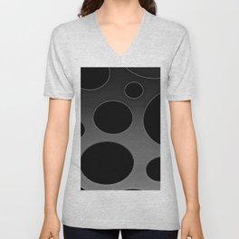 Contemporary Circle Silver and Black Unisex V-Neck