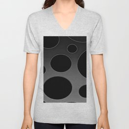 Contemporary Circle Silver and Black Unisex V-Neck