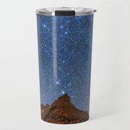 Starry Night: Brilliant Blue Stars Behind Rocky Mountain Travel Mug