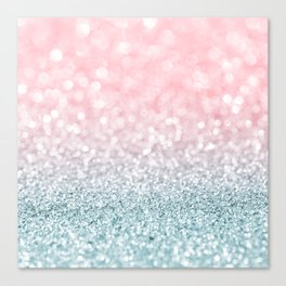 Aqua and Pink Glitter Gradient Canvas Print