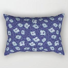 Blue Leaves Start Print Rectangular Pillow
