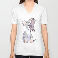terrier V-neck T-shirts featuring Bull terrier by Suzanne Annaars