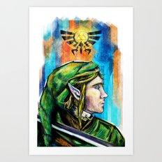 Link from the Legend of Zelda Painting. The Proud Hyrulian Warrior. Art Print