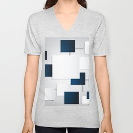 BLACK AND WHITE SQUARES ON A GRAY BACKGROUND Abstract Art Unisex V-Neck