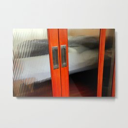 Ribbed Glass Doors - A Half Made Bed Metal Print