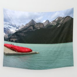 Lake Louise Red Canoes Wall Tapestry