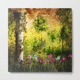 The Deserted Garden. Beautiful painting. Grunge. Metal Print