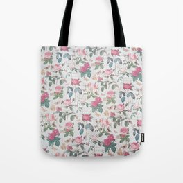 Romantic rustic vintage pink roses typography floral Tote Bag