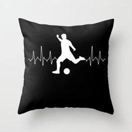 Soccer Heartbeat Throw Pillow