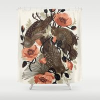 death Shower Curtains featuring Spangled & Plumed by Teagan White