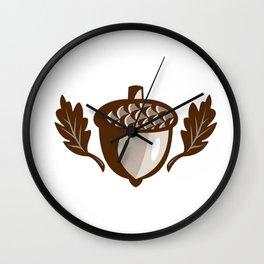 Acorn Oak Leaf Isolated Retro Wall Clock