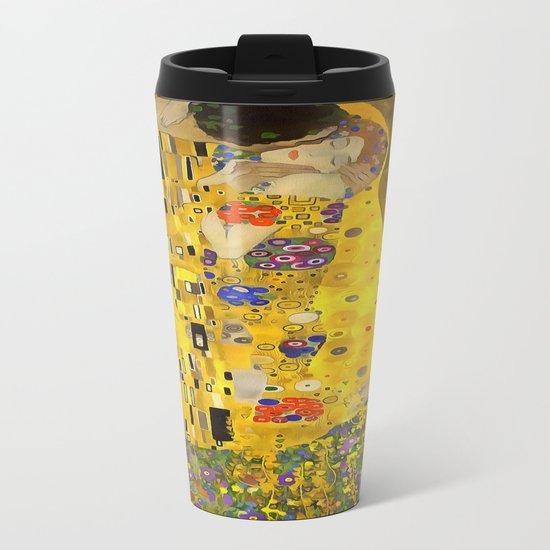 The Lovers Kiss After Klimt Metal Travel Mug