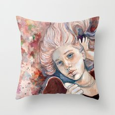 Listen with your eyes open - watercolor Throw Pillow