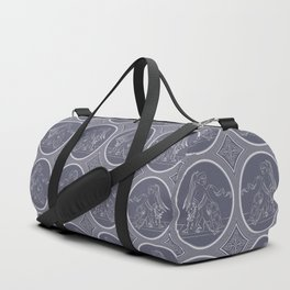Grisaille Charcoal Blue Grey Neo-Classical Ovals Duffle Bag
