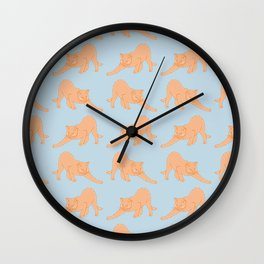 Ginger Cat Stretching Pattern Wall Clock