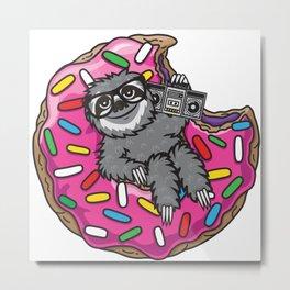 Sloth donut music Metal Print
