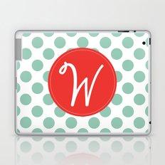 Monogram Initial W Polka Dot Laptop & iPad Skin
