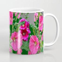 ENGLISH COTTAGE  PINK HOLLYHOCKS  GREEN & GREY GARDEN Coffee Mug