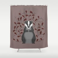 badger Shower Curtains featuring Badger by Sophie Mitchell