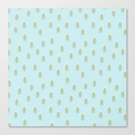Merry christmas- With snow covered x-mas trees pattern on aqua background Canvas Print