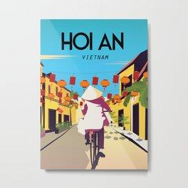 hoi an vietnam vintage travel poster Metal Print