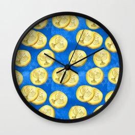 Hanukkah Gold Wrapped Chocolate Coins (Gelt) With Menorah Wall Clock