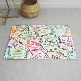 Passport to Adventure Vintage Style Travel Stamps Pattern Rug