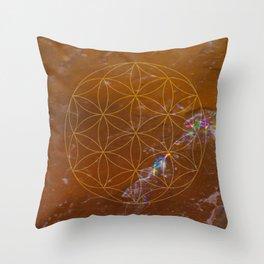 Orange Calcite // Flower of Life Throw Pillow