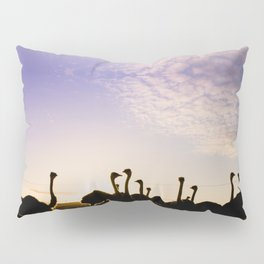 Ostriches at sunset Pillow Sham