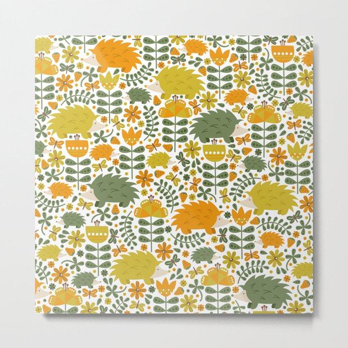 Autumn Hedgehog Forest Metal Print