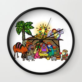 Christmas Nativity Cartoon Doodle Wall Clock