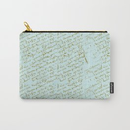 French Script on Paris Blue Carry-All Pouch