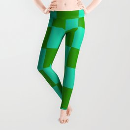 Green & Turquoise Chex 2 Leggings