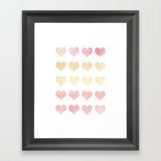 Watercolor Hearts Framed Art Print