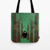 sasquatch Tote Bags featuring Sasquatch in Trees by Ryan W. Bradley