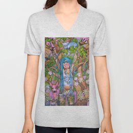 Woman with blue hair. Unisex V-Neck