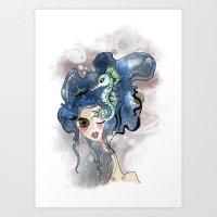 the deep girl-1 Art Print