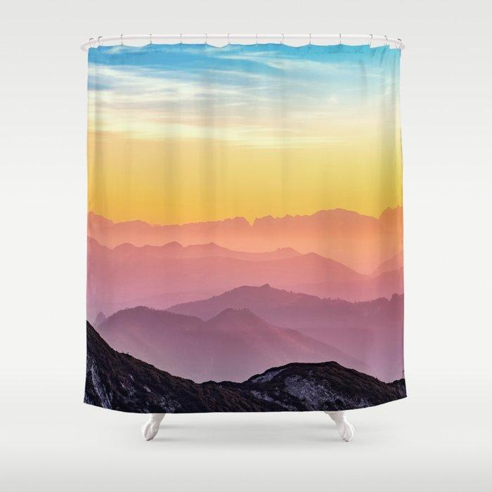 sky blue yellow orange purple Shower Curtain by jsebouvi | Society6