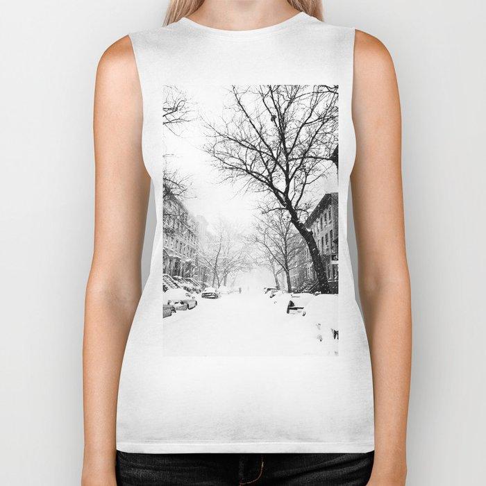 New York City At Snow Time Black and White Biker Tank