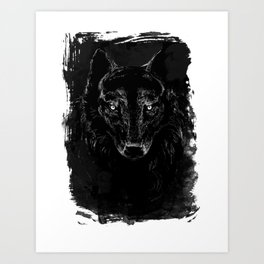 Black Wolf Portrait, dark variant Art Print